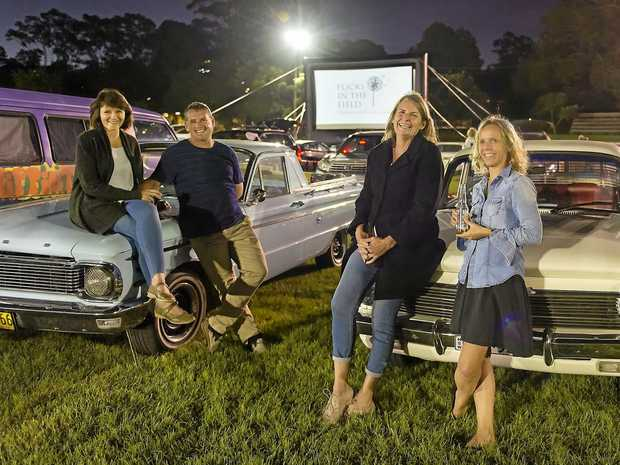 FIELD OF FILMS: Bangalow locals Melanie, Lyle, Kristen and Suzy enjoying the atmosphere at last April's Flicks in the Field.