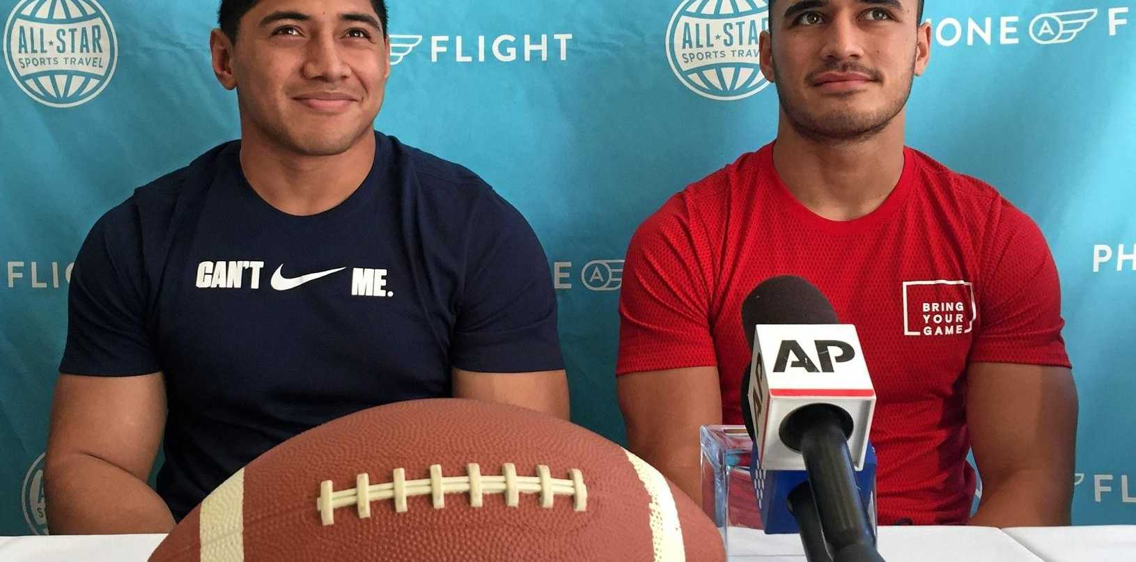 NRL players Jason Taumalolo (left) and Valentine Holmes in Santa Monica.