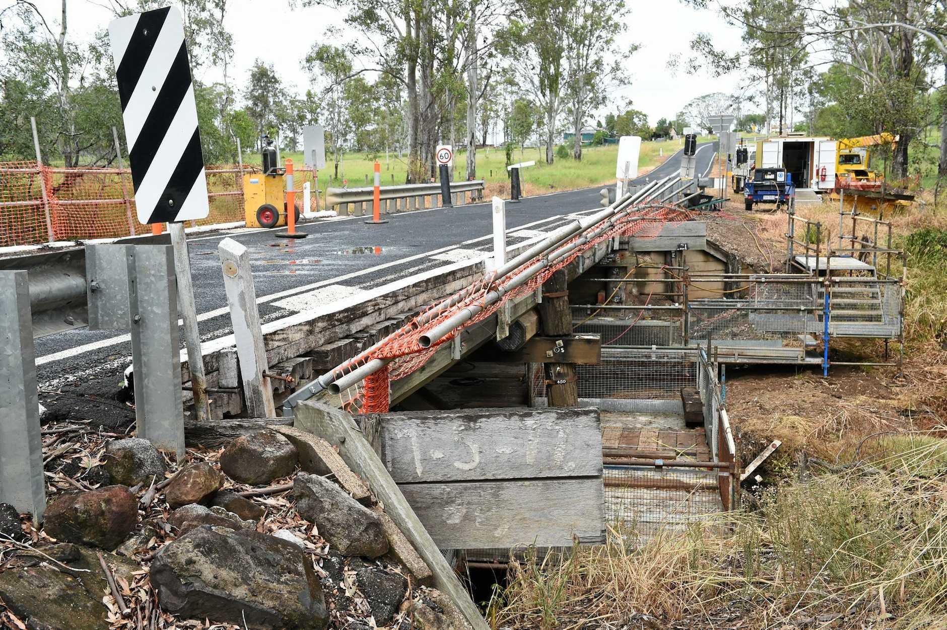 Repairs are underway on the Gutchy Creek Bridge.  Photo:  Valerie Horton/Fraser Coast Chronicle