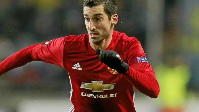 Manchester United's Henrikh Mkhitaryan in action during the Europa League group A soccer match against Zorya Luhansk at Chornomorets stadium in Odessa, Ukraine.