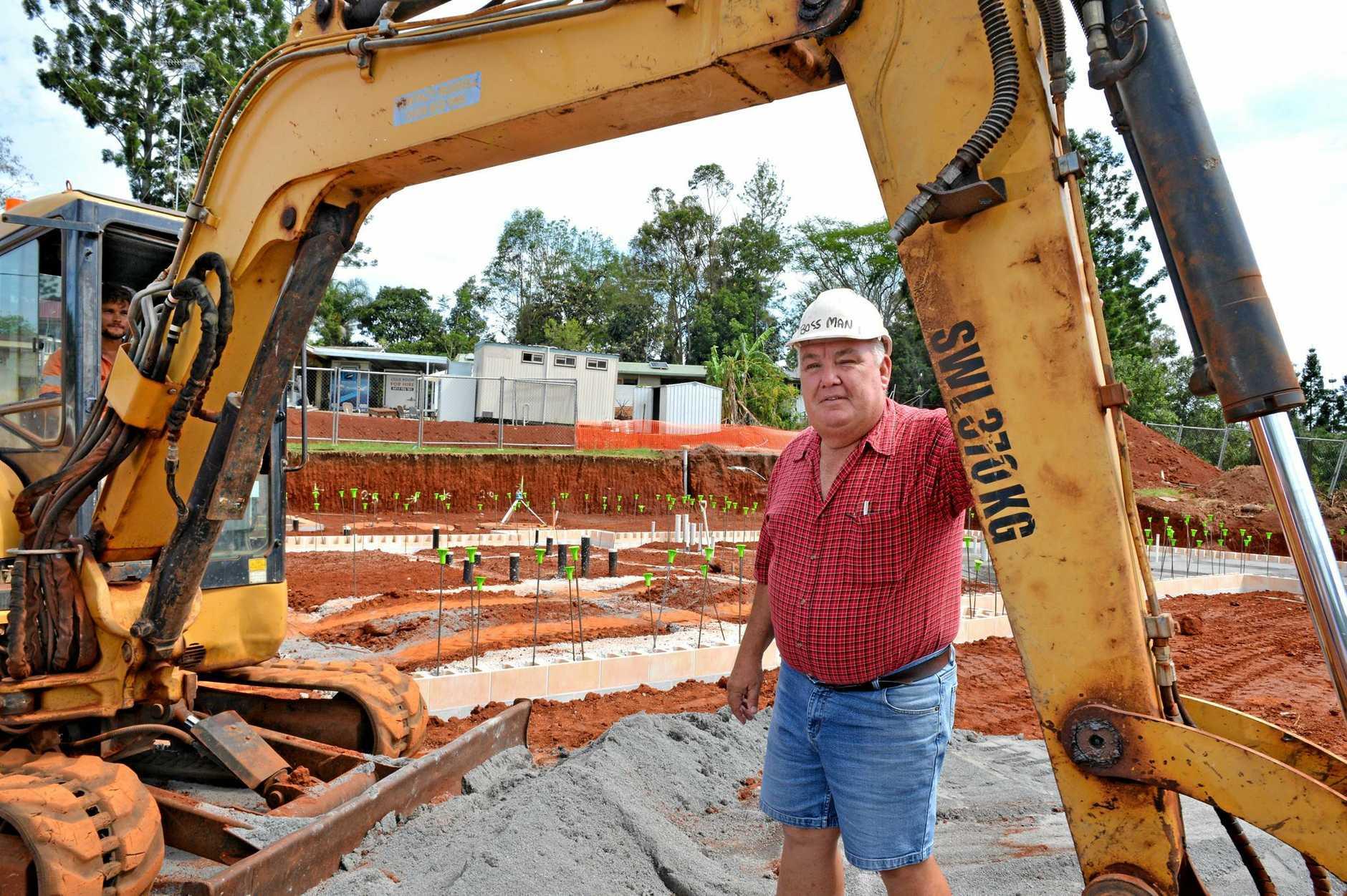 TAKING SHAPE: Doug Greensill standing where the start of the new Kandanga pub will stand.