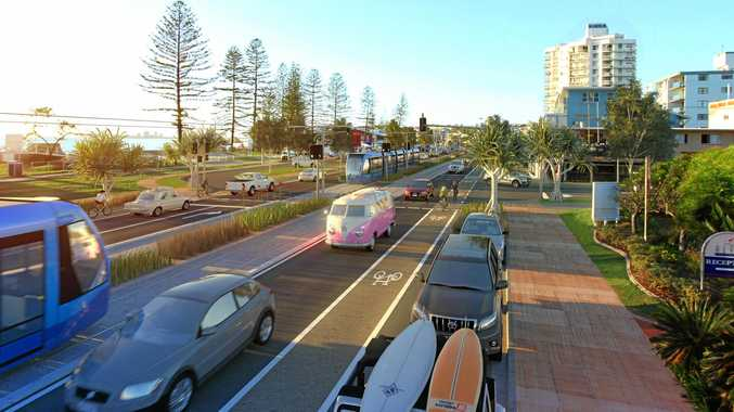 The concept plans for the light rail network operating along Alexandra Pde, Alexandra Headland.