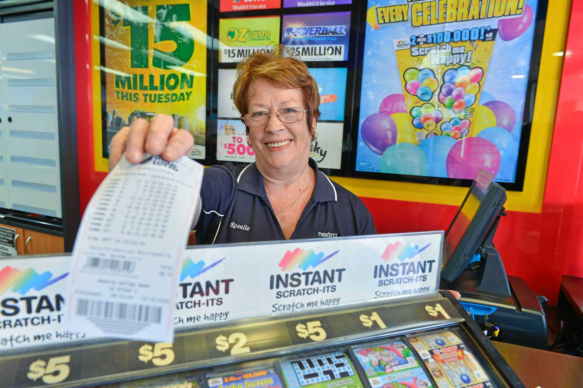 Nextra Valley Newsagency owner Rosalie McPherson said interstate visitors have been buying lotto tickets in Gladstone because they've heard how lucky the city is.
