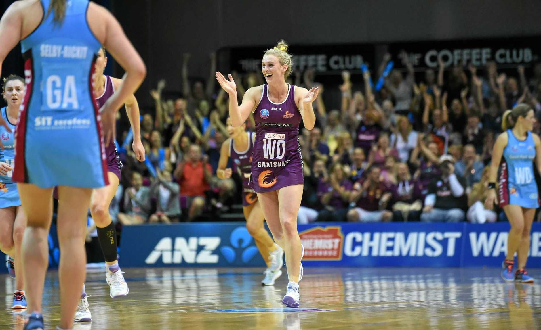 Gabi Simpson in action for the Queensland Firebirds last season. PHOTO: SMP IMAGES / QLD FIREBIRDS MEDIA