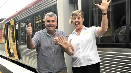 WINNERS: Rail campaign leader Cr David Pahlke and Ipswich commuter Lyndell Giansiracusa are excited that the trains are back.