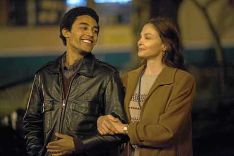 Australian actor Devon Terrell portrays a young Barack Obama in the Netflix original movie Barry. Pictured with Ashley Judd. Supplied by Netflix.