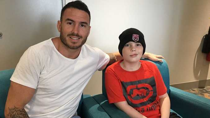 Brisbane Broncos star Darius Boyd visited Rockhampton's Josh Hatfield in the Lady Cilento Hospital.