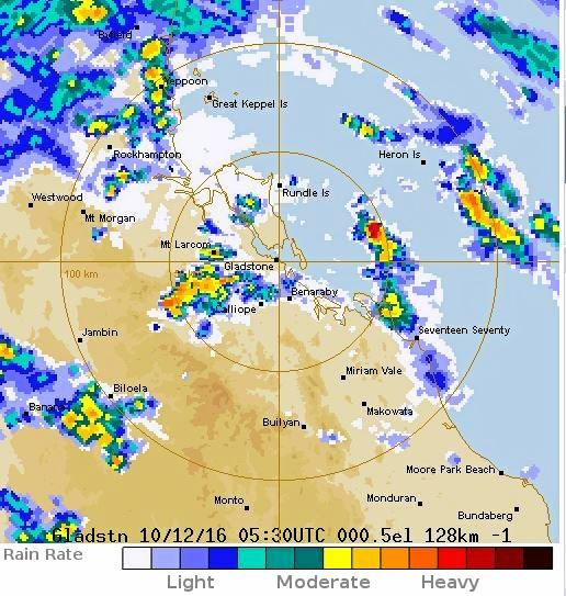 Radar of rain clouds over Rockhampton just before 4pm.