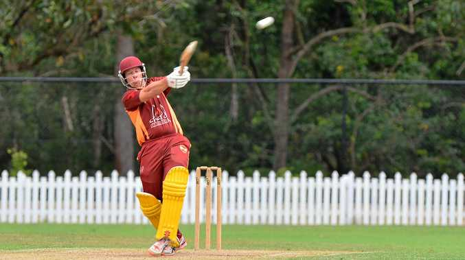 T20 match in Buderim, Scorchers v Ipswich. Ipswich batsman David Lyons hooks a ball and is caught (off this ball) on the boundary.