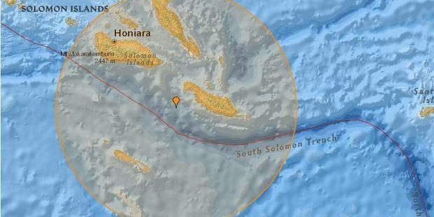 6.9 magnitude earthquake struck 90km from Kirakira, Makira, Solomon Islands. Image / Earthquake Track