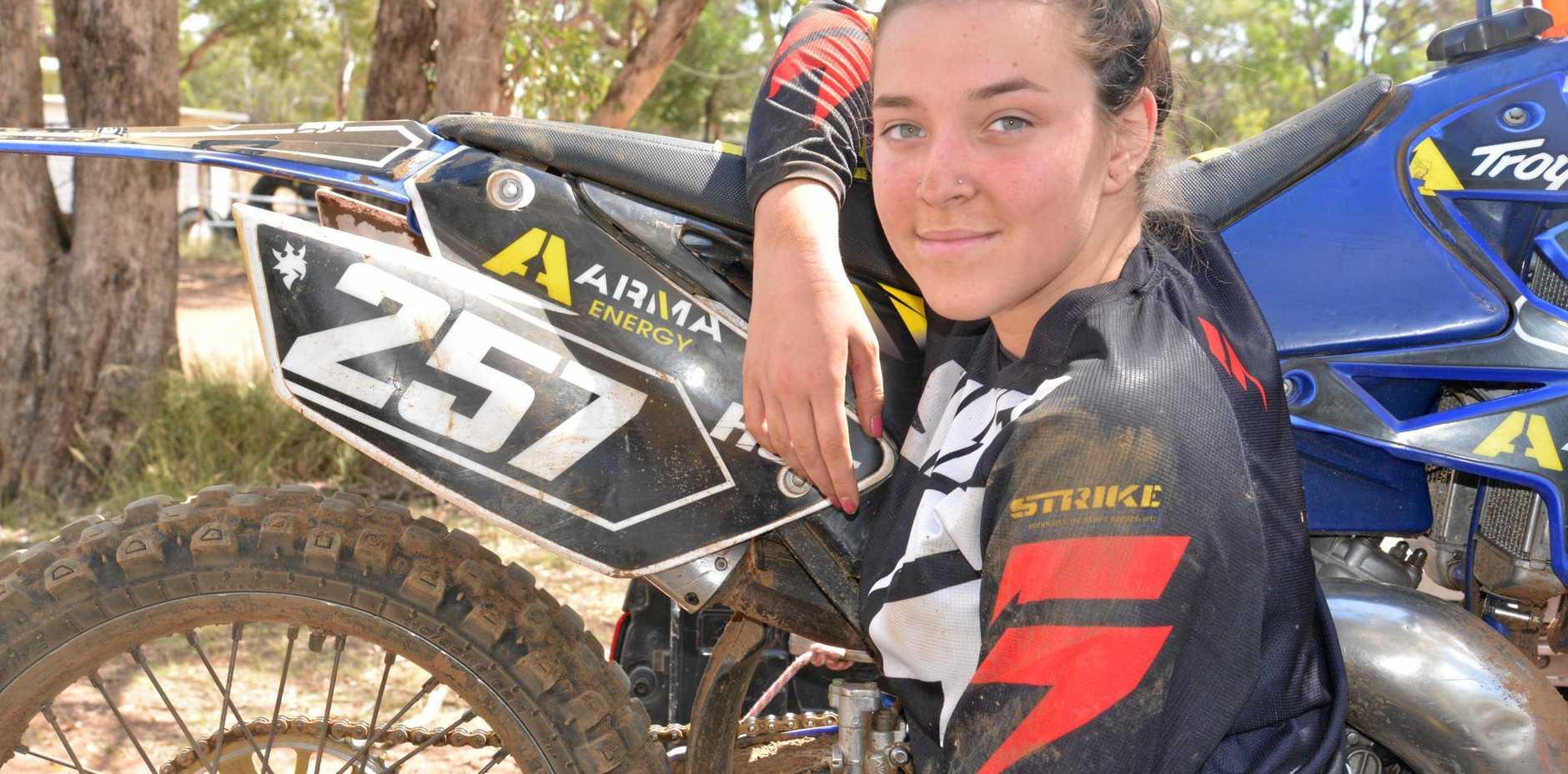 Gold Coast rider Jade Holz during a day of motocross at Morgan Park in Warwick.