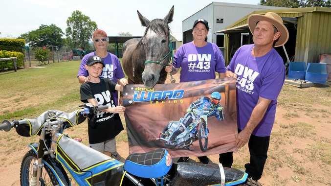 GET WELL DARCY: Troy Jackson, Linda Kingston, Sam Kingston and Mick Jackson with Blue. Sam will be riding Blue to raise money to help speedway racer Darcy Ward who is recovering from serious injuries.