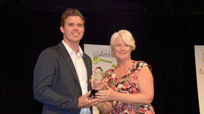 Rockhampton mayor Margaret Strelow and Olympian Sasha Belogonoff.