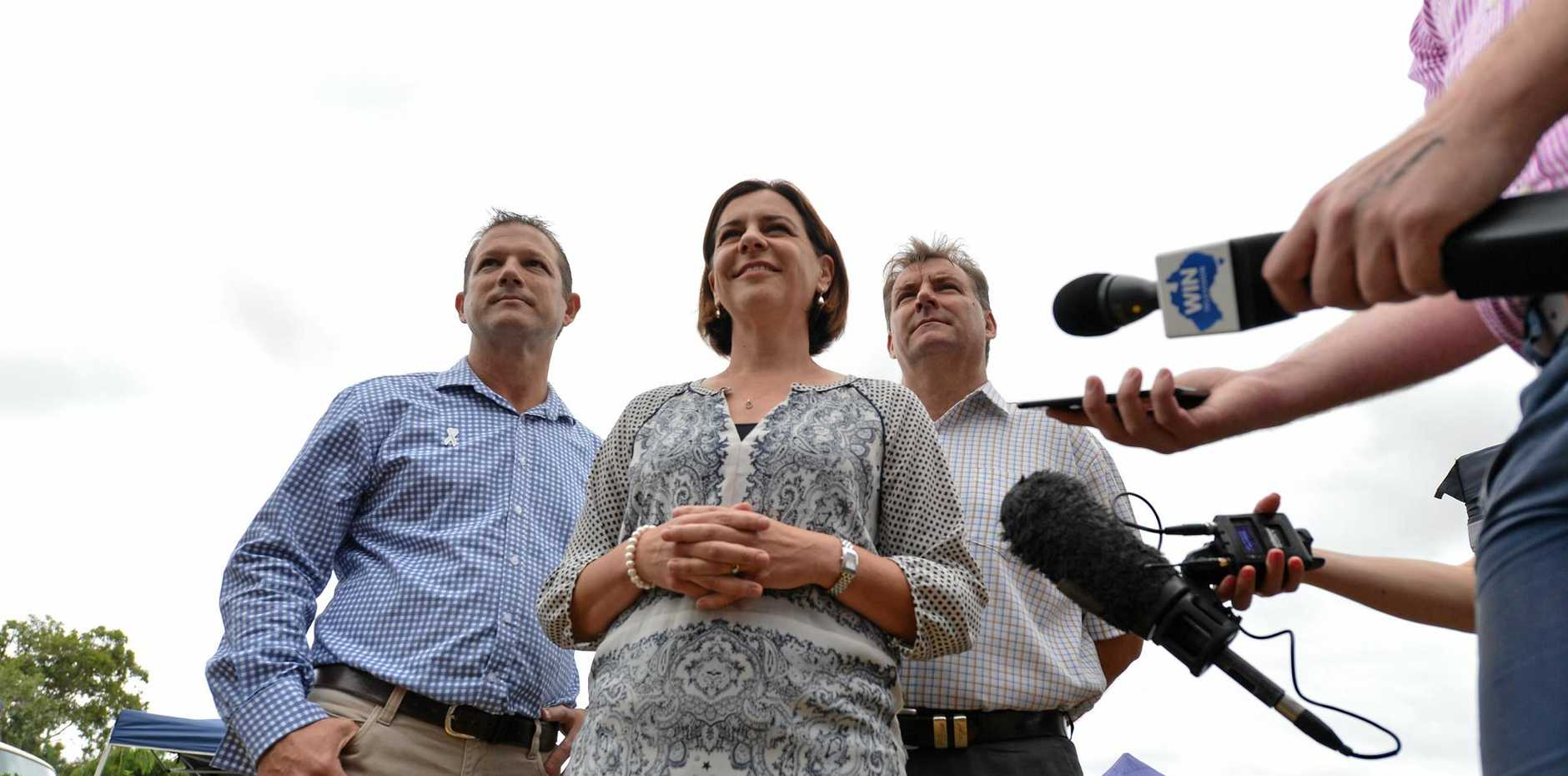 Queensland Deputy Opposition Leader Deb Frecklington at Shalom Markets with Cr David Batt, the new LNP candidate for Bundaberg, and Member for Burnett Stephen Bennett. Ms Frecklington was in Bundaberg to add weight to Cr Batt's campaign.