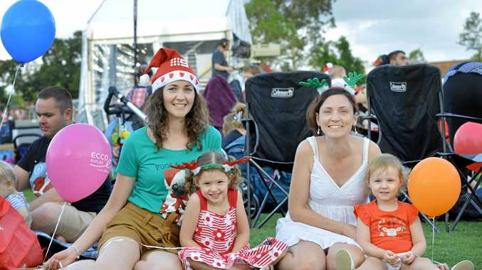FAMILY FUN: Kirstie Tannock with Hannah, Stacey and Elouise Priest at Carols by Candlelight.