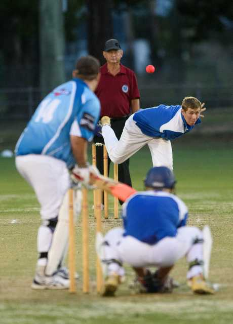 Ben McMahon bowls for Harwood during the 2015/16 Cleavers Mechanical Night Cricket grand final against Coutts Crossing at McKittrick Park. The 30-over competition could become the target of a new 'maxi-over' concept being undertaken by shorter form competitions across the country.