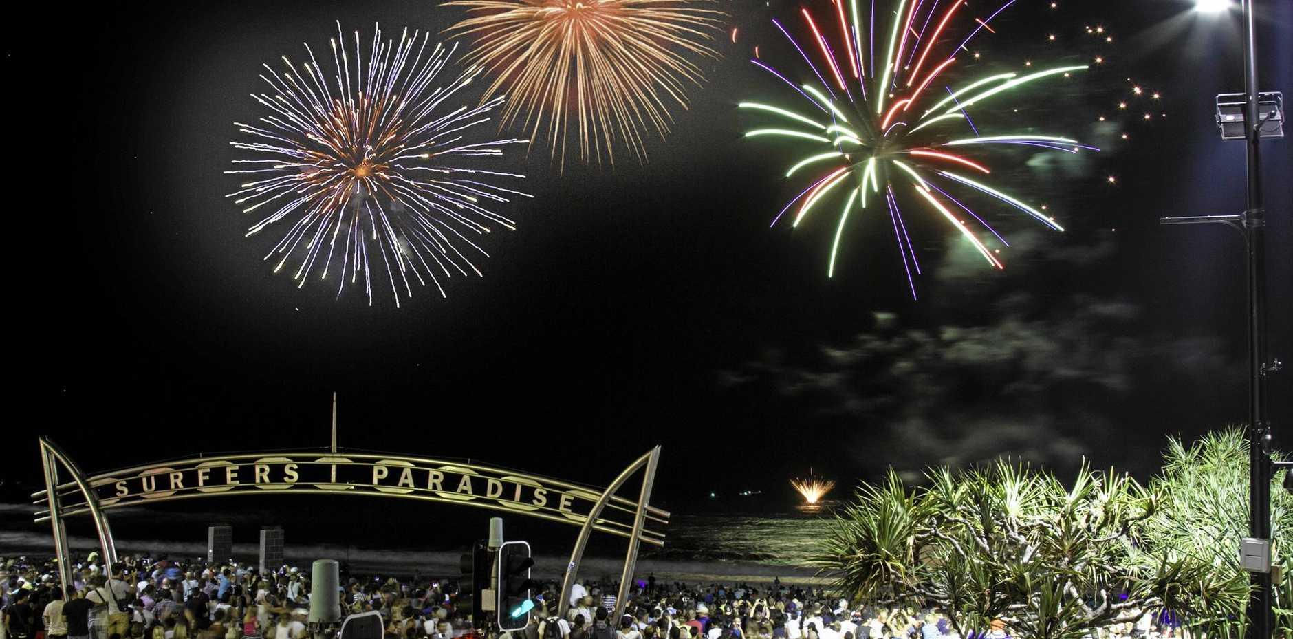 CELEBRATIONS: Fireworks on Surfers Paradise Beach.