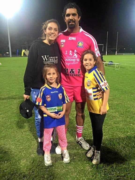 OUT OF POCKET: Unpaid, former Northern United Rugby League player, Chris King with his daughters Dakota (bottom left), Shataya and Zariah.