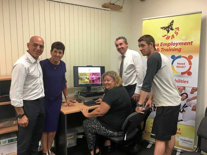 Councillor Gianpieero Battista, Debbie Fry, Beverley Stanton, Kevin Hogan and Cameron Marychurch at the launch of Tursa's new disability-friendly website.