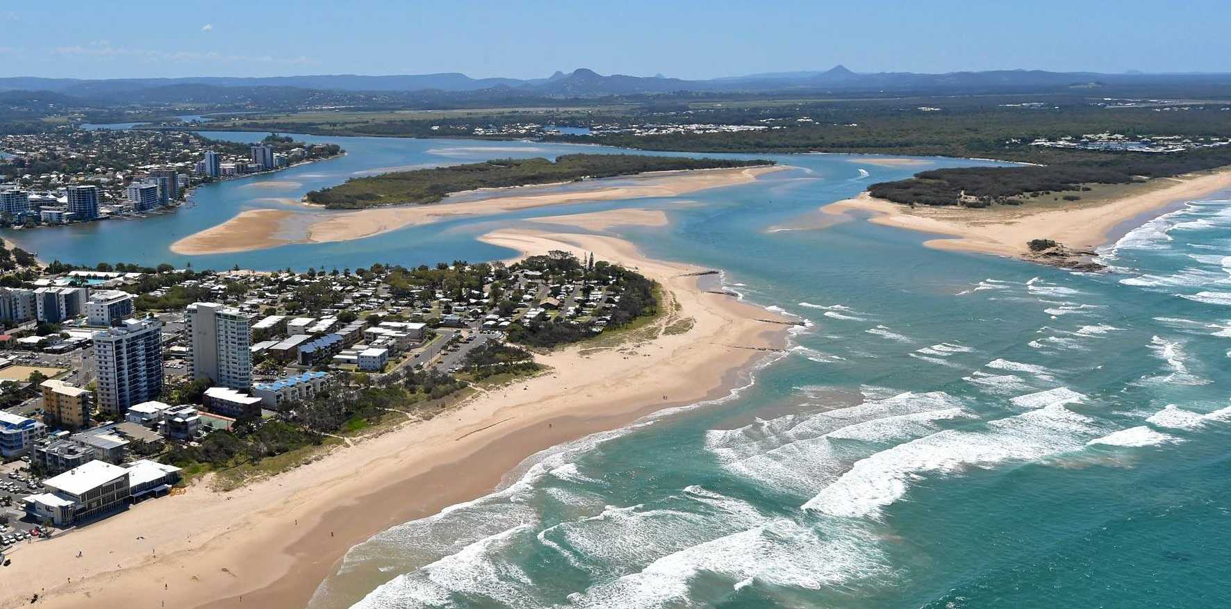 SOLUTION? The Maroochy River mouth is constantly changing: