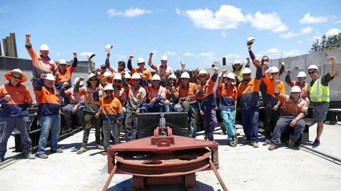HURRAY: Harwood Marine workers appreciate the company has been able to keep them employed for the two years the slipway has been out of action.