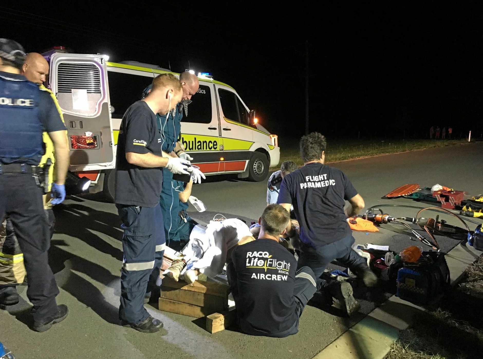 IMPALED: The scene of Saturday night's crash.
