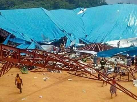 A overview of the collapsed Reigners Bible Church International in the city of Uyo, Nigeria.