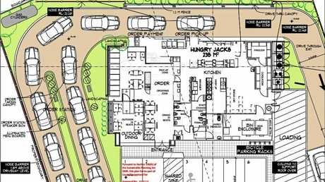 Plans from Hungry Jacks' development application with Ipswich City Council