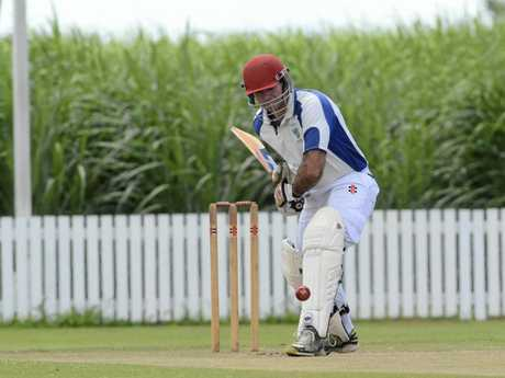 Geoff Simmons batting for Harwood in the 2015/16 Lower Clarence Cricket Association preliminary final between Harwood and Maclean United at Harwood Cricket Ground on Saturday, 14th of March, 2016.Photo Bill North / Daily Examiner