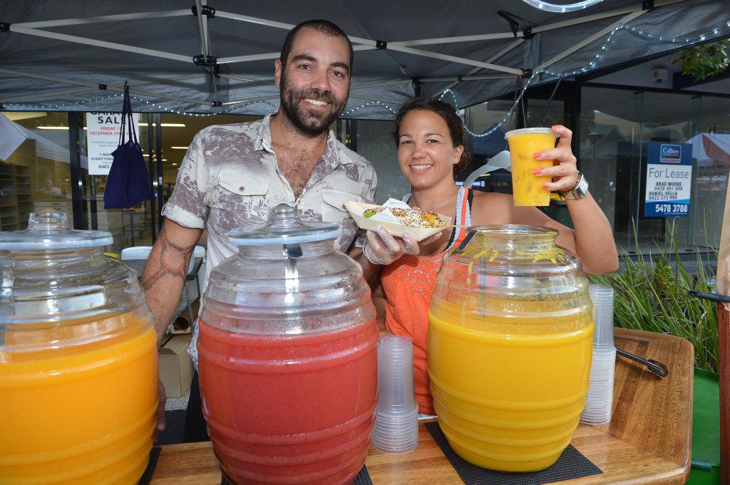 Nights on Ocean. Markets in Ocean Street, Maroochydore. Chad Barakat and Kate Sheridan from Agua Fresca. Photo: Warren Lynam / Sunshine Coast Daily
