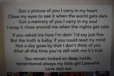 A poem written for Lateesha Nolan by her dad Mick Peet.