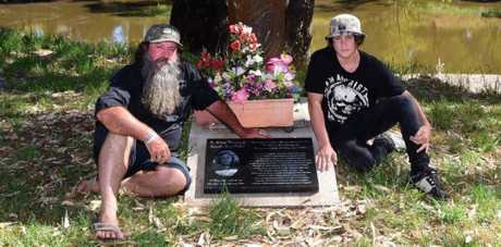 Mick and Mikey Peet at the memorial set up for Lateesha Nolan.