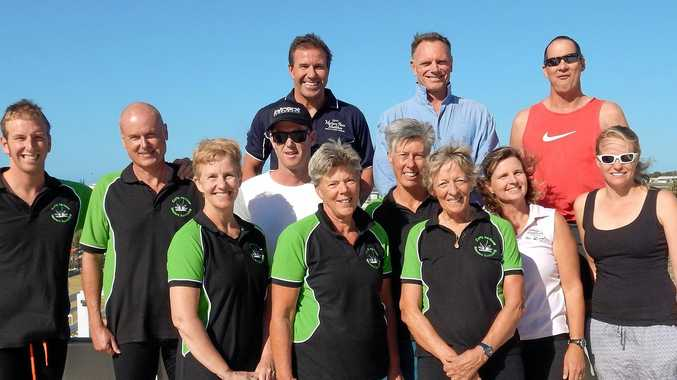 SQUAD: Coffs Harbour Masters swimming team members (back, from left) Michael Stubbs, Brad Arnold, Jamie Marschke, (middle) Richie Goddard, Grant Da Costa, Daniel Bannerman, Anthea Barnfield,Michelle Stubbs, Amanda Mordue, (front) Leanne Da Costa, Hilary Young and Rose Jeff.