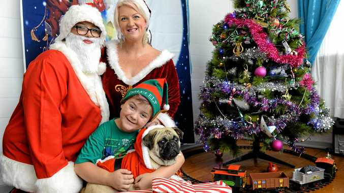 Hollie - May Reece with Rochelle and Dodge Caloon with Pugsley are preparing for their Christmas pop-up party to raise funds for sick kids.