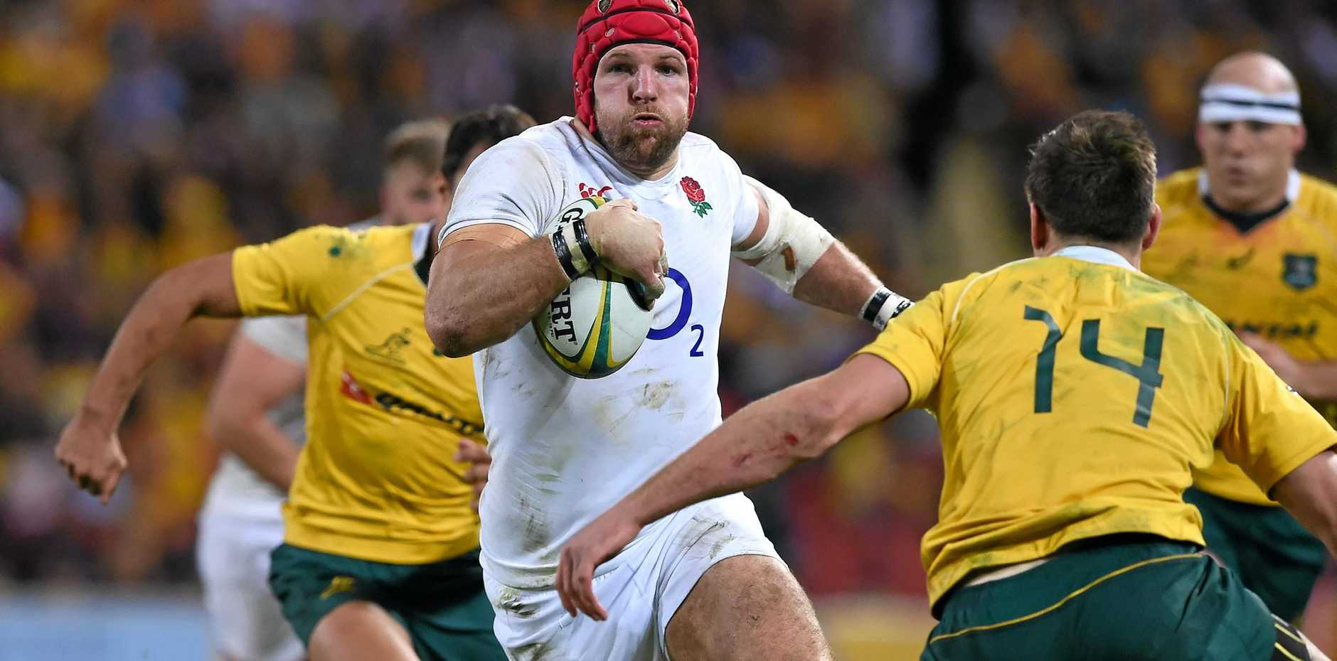 England player James Haskell on the charge against Australia.