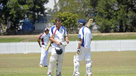 Harwood batsman Nathan Ensbey (left) with partner Doug Harris were influential as the side surpassed 250-runs at Harwood Cricket Ground.