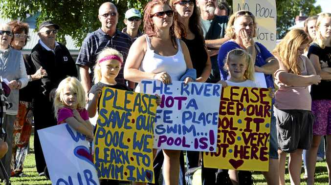 Ulmarra residents protested in strength at a meeting in 2013, but falling numbers at public meetings has given an impression support for keeping the pool open is waning.