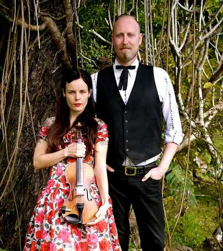 Northern Rivers music duo Ruthie-Ma-Toothie Genna Pyewacket on vocals and violin and Rohan Langford on vocals and guitar.