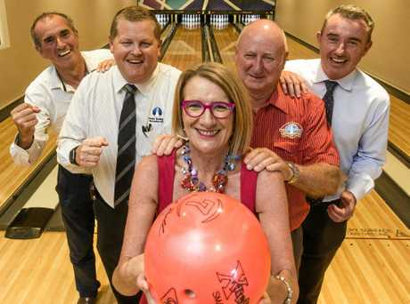 Member for Clarence Chris Gulaptis, Yamba Bowling Club CEO Phil Boughton, club president Ian Lauder and member for Page Kevin Hogan give Yamba Chamber of Commerce president Sue Hughes some encouragement in trying out the ten-pin bowling at the newly opened Family Leisure Centre at the bowling club.