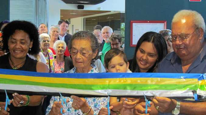 ORIGINAL SETTLERS: Five generations of the Togo family  cut the ribbon to the new display at Tweed Heads. From left Jodie Togo, Marg Togo, Harlem McDonald, Kristine King and David Togo.