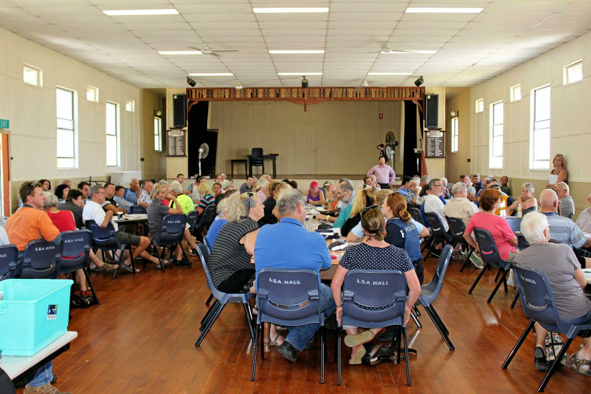 ANGRY: 100's of locals flocked to the Landsborough School of Arts to have their say.