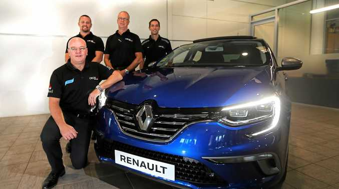 Cricks Tweed Renault principal Jamie Wass with sales staff Ben Hall, Luke Freeman and Stephen Roach along side their first Renault vehicle.