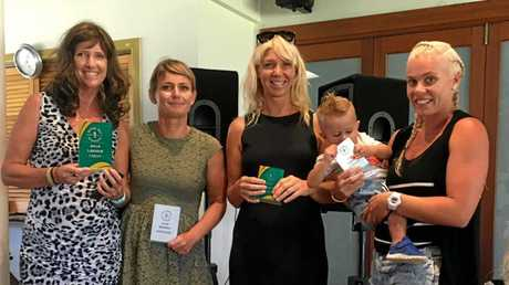 AWARDS: The top four women surfers at the Byron Bay Boardriders Awards night. At left is Sally Miller came out on top of the catagory.