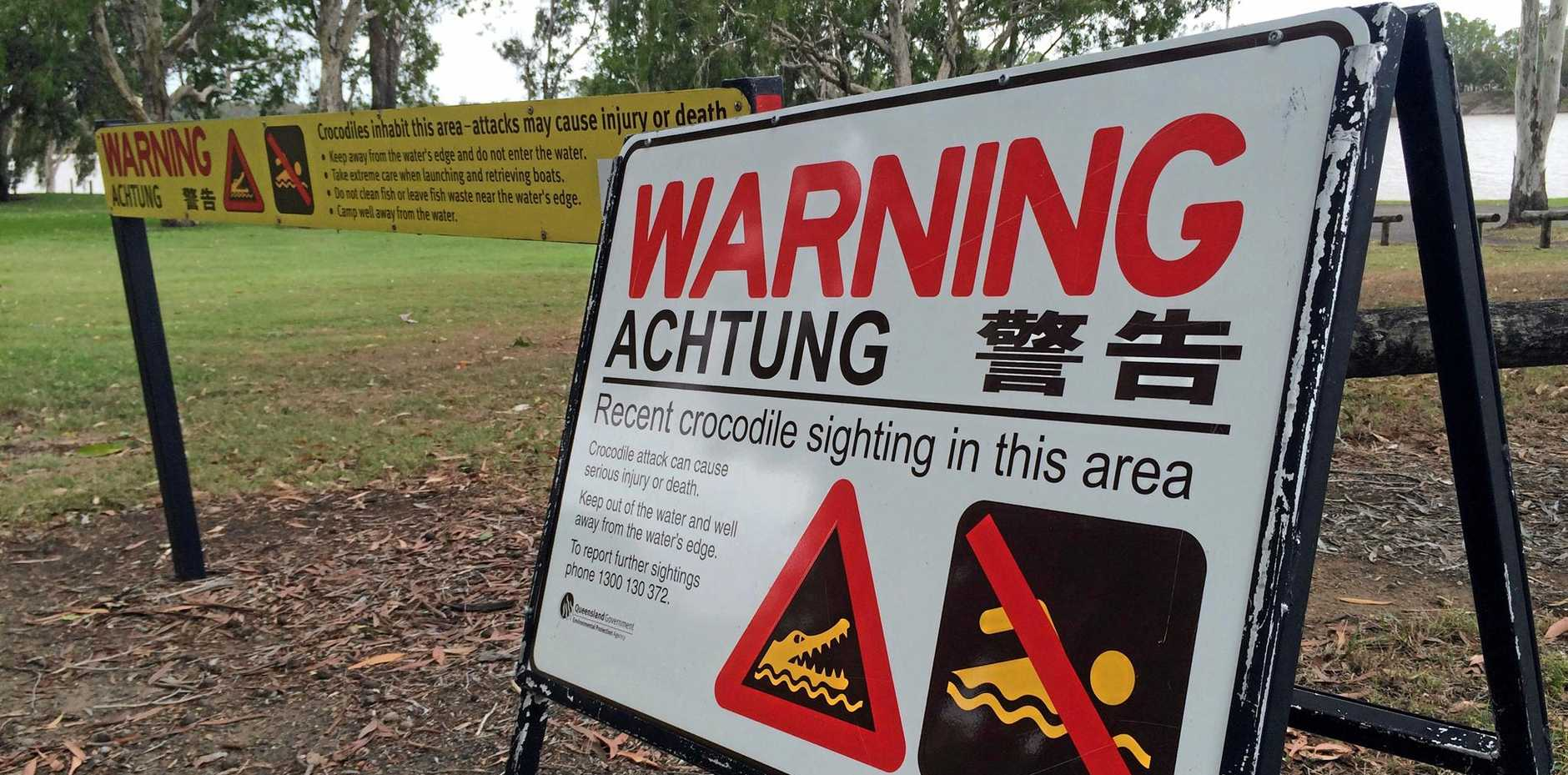Crocodile warning signs set up at Ski Park, Wandal following a recent sighting in the Fitztroy River.Photo Amber Hooker / The Morning Bulletin