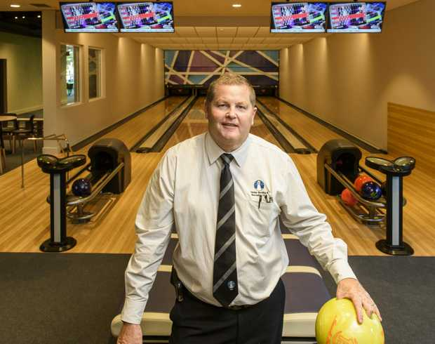 Yamba Bowling Club CEO Phil Boughton in front of the four new ten-pin bowling lanes opened at the Yamba Bowling Club.