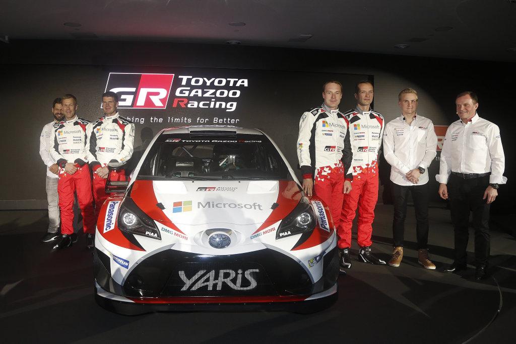 L ro R: Janne Ferm, Kaj Lindstr m, Mikka Anttila, Jari-Matti Latvala, Juho H nninen, Esapekka Lappi and Tommi M kinen with the 2017 Toyota Yaris WRC challenger.