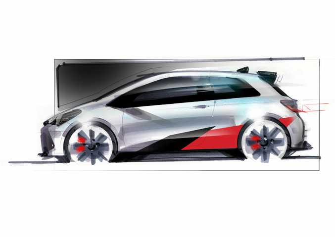 Sketch of a future Toyota Yaris hot hatch.