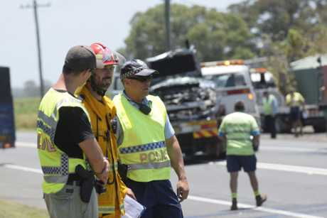 PILE-UP: Seven vehicles, including two trucks and a car towing a caravan, were involved in a multi-vehicle crash just north of Ulmarra this morning.