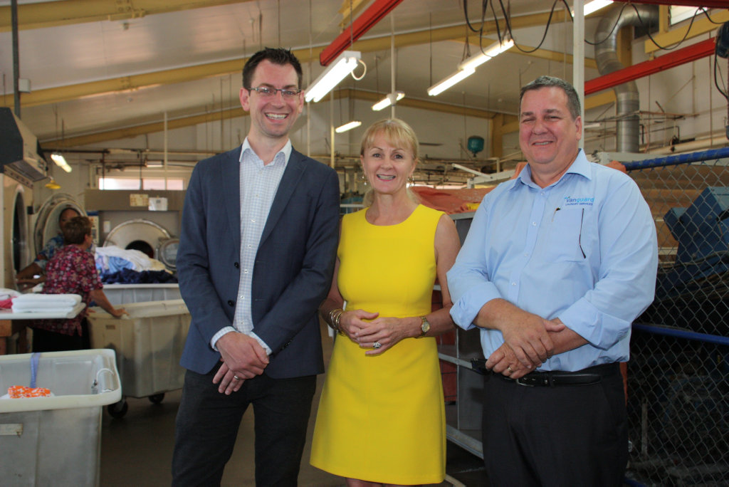 Celebrating the handover of St Vincent's Private Hospital's laundry service to Vanguard are (from left) Toowoomba Clubhouse CEO Luke Terry, St Vincent's CEO Kathryn Mc Keefry and Vanguard general manager Shane Walters.