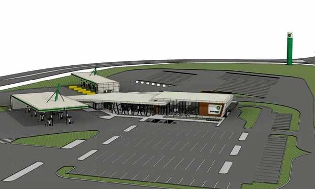Artist's impression of a highway service centre planned for West Ballina.